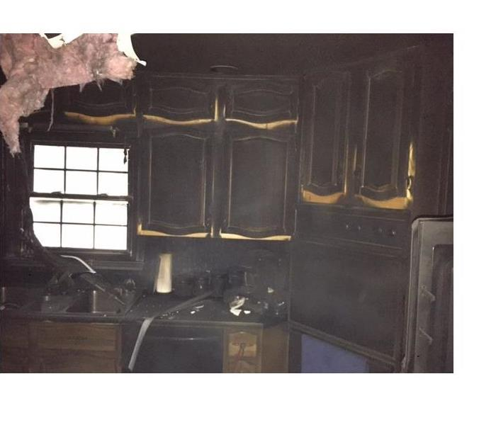 Kitchen area affected by fire.